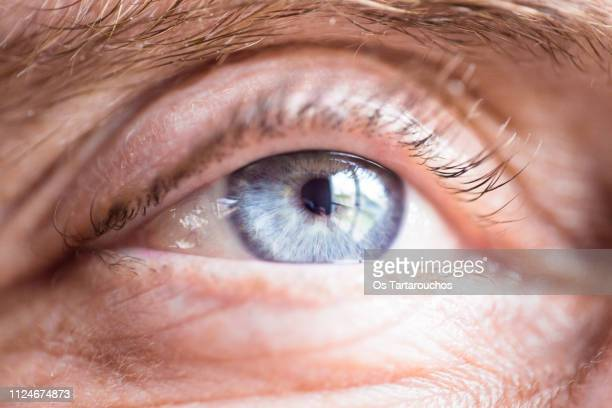 blue eye close up of an old man - close to stock pictures, royalty-free photos & images