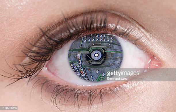 Blue eye with computer circuit board lines
