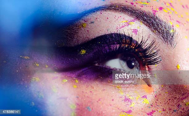 blue eye with makeup - eye make up stock photos and pictures