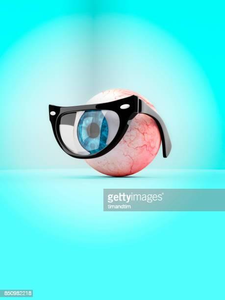 Blue eye with mono glasses
