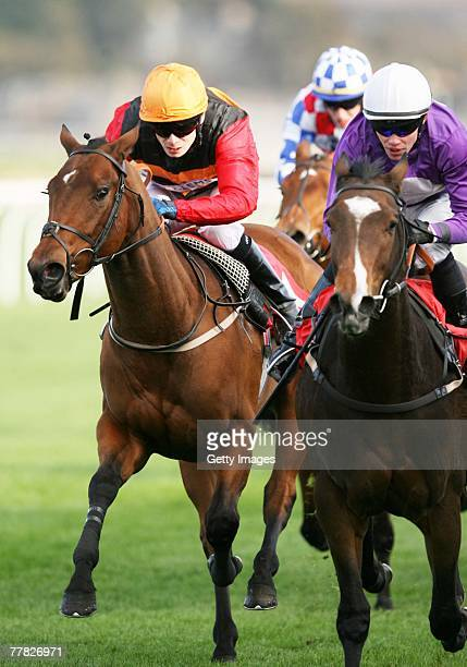Blue Eyed Miss ridden by jockey Jamie Spencer during the Craigleith Masonry Nursery Handicap at Musselburgh Races on Novermber 9, 2007 in...