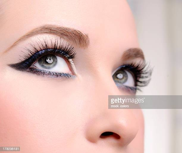 blue eyes - false eyelash stock pictures, royalty-free photos & images