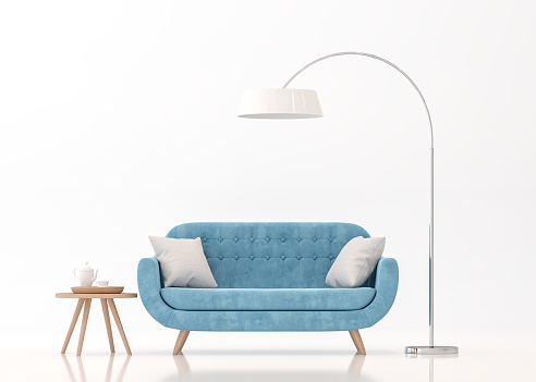 Blue fabric sofa on white background 3d rendering image 927080588