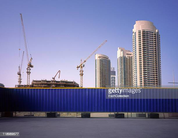 Blue fence protecting construction site in Dubai