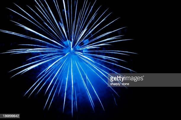 blue fireworks explosion - fireworks stock pictures, royalty-free photos & images