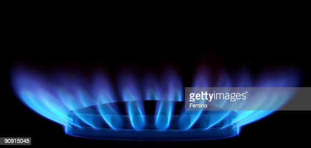 Blue Flames in Black (Gas Stove from side)