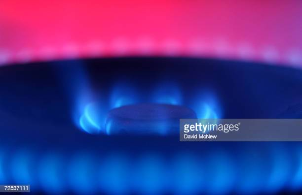 Blue flames rise from the burner of a natural gas stove June 11 2003 in Orange California Federal Reserve Chairman Alan Greenspan testifying as an...