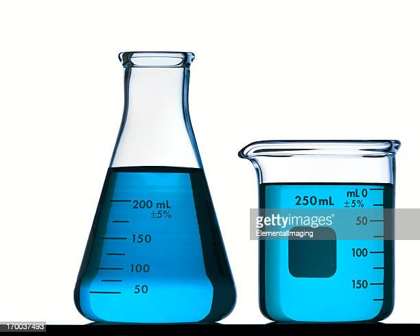 Blue Flask and Beaker Isolated on White with Clipping Path