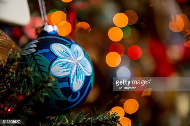 blue flower christmas tree ornament lights - hawaii christmas stock pictures, royalty-free photos & images