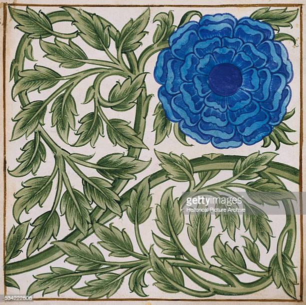 Blue Flower Watercolor Tile Design by William de Morgan