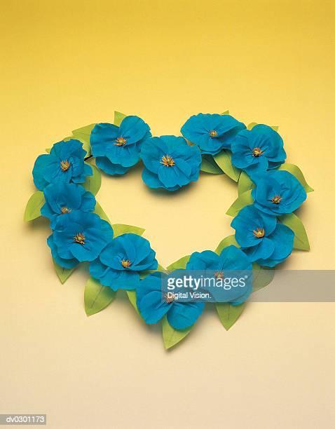 Blue flowers in heart shape