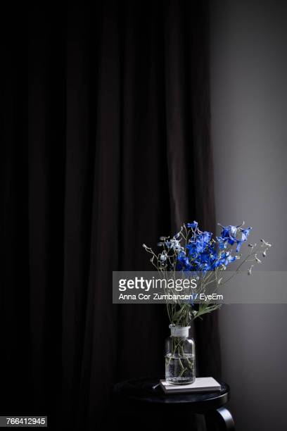 Blue Flowers In Vase On Table Against Curtain