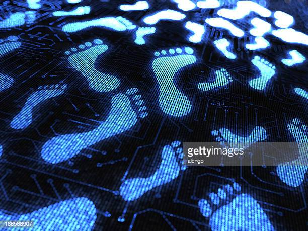 Blue footprints over a circuit board