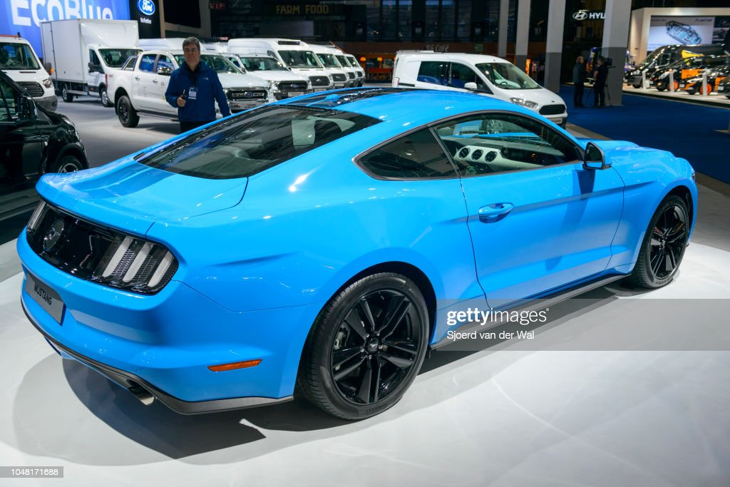 Blue Ford Mustang American Muscle Car Rear View On Display At