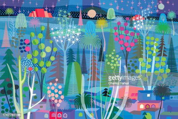 blue forest scene at night illustration - illustration technique stock pictures, royalty-free photos & images