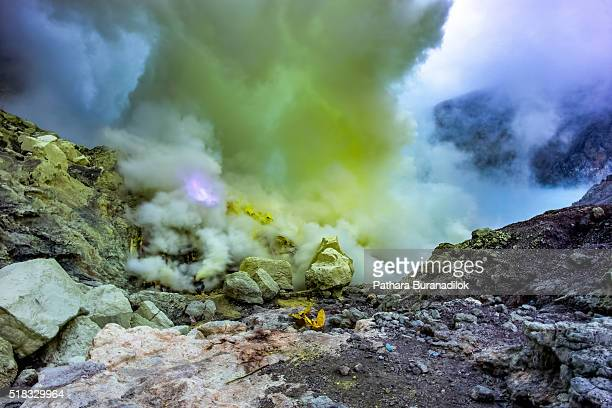 Blue frame in Sulfer dioxide smoke at Kawah Ijen