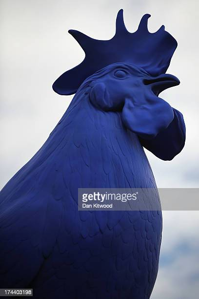 A blue French cockerel by German artist Katharina Fritsch is unveiled on top of the forth plinth in Trafalgar Square on July 25 2013 in London...