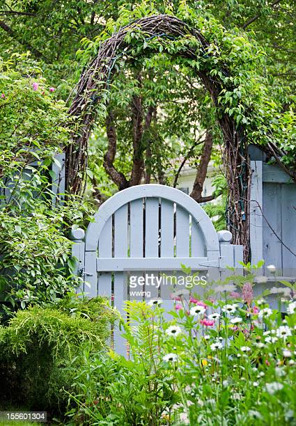 Blue Garden Gate and Spring Flowers