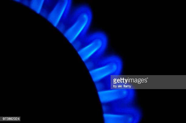 Blue Gas. A household gas oven with the included gas