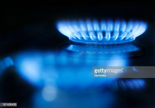 Blue gas flame on a black background