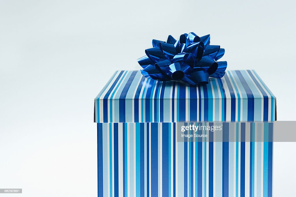 Blue gift box getty images blue gift box negle Images