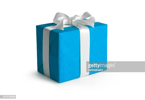blue gift box w/clipping path - gift stock pictures, royalty-free photos & images
