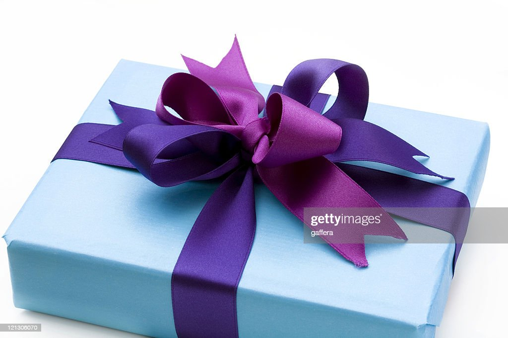 Blue gift box with bow stock photo getty images blue gift box with bow stock photo negle Choice Image
