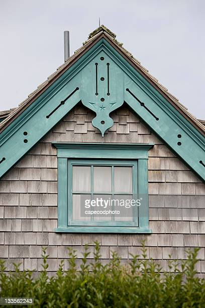 blue gingerbread on a weathered peak - nantucket stock pictures, royalty-free photos & images