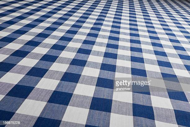Blue Gingham Checked Table Cloth