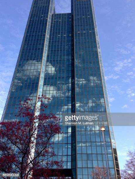 blue glass building downtown - toledo ohio stock pictures, royalty-free photos & images