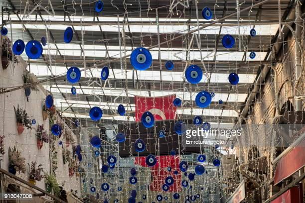 blue glass decors on the ceiling,izmir. - emreturanphoto stock-fotos und bilder