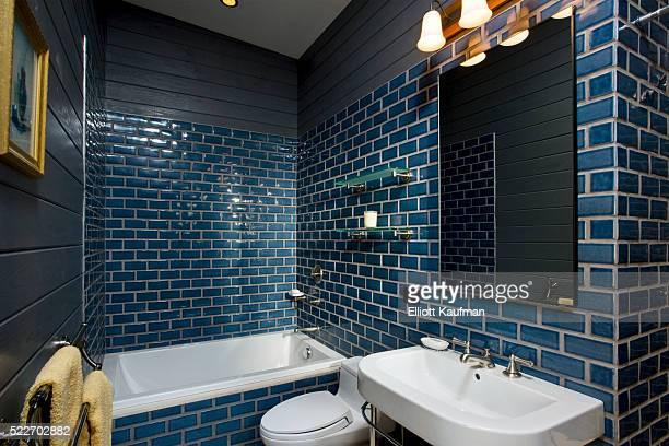 Blue glazed tile in the bathroom