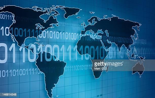 Blue global communication background
