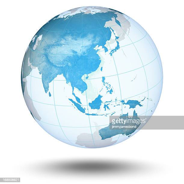 blue globe - asian eastern hemisphere - china east asia stock pictures, royalty-free photos & images