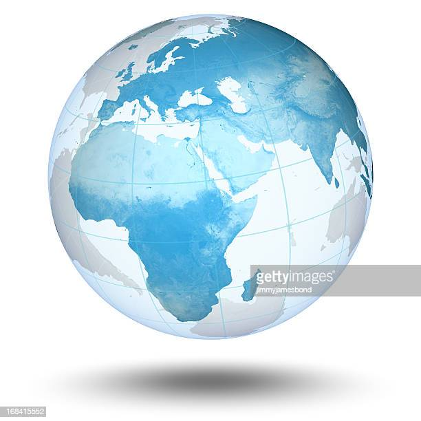 blauer globus-europäischen eastern hemisphere - europa kontinent stock-fotos und bilder