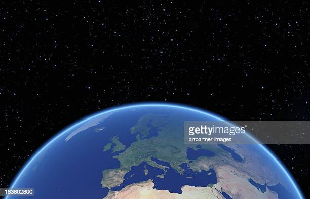 Blue Globe with Europe against a black nightsky