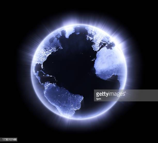 Blue glowing Earth [Atlantic Ocean]