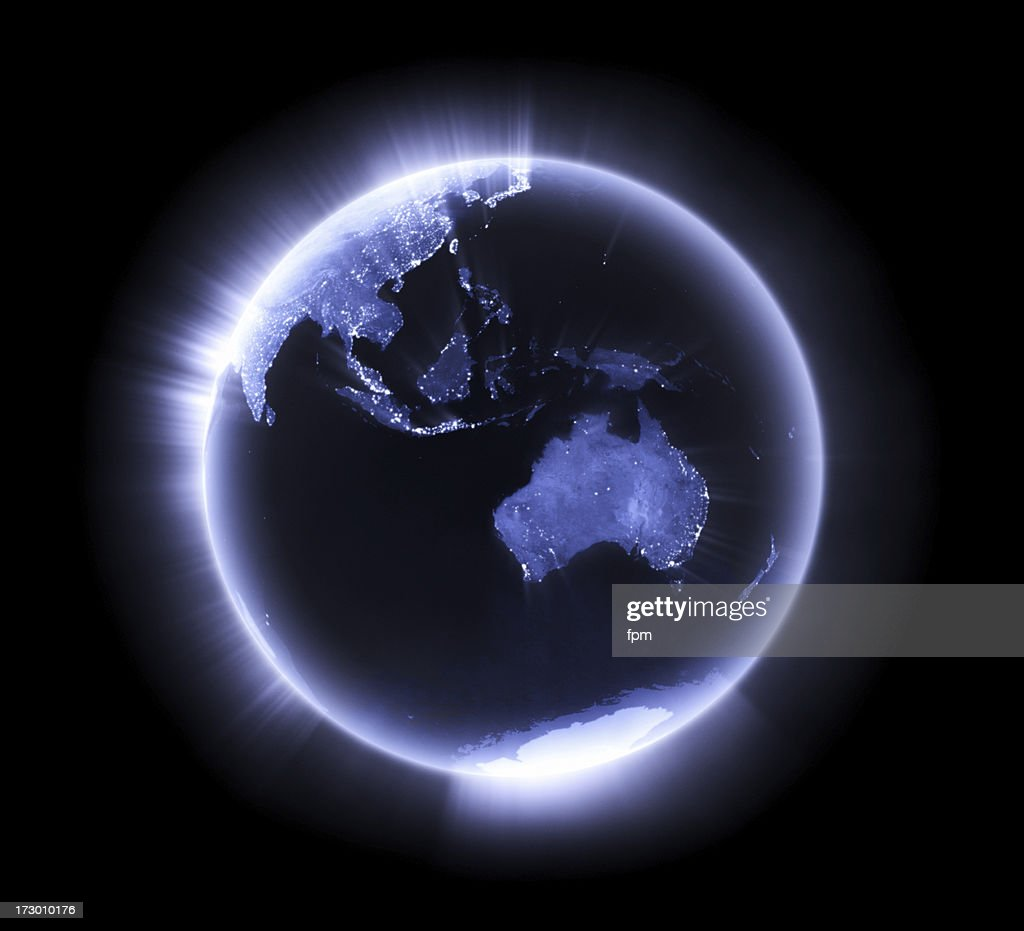 Blue glowing Earth [Australasia] : Stock Photo