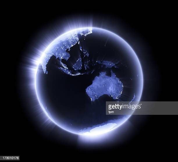 Blue glowing Earth [Australasia]