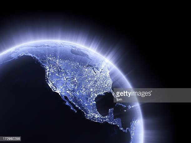 Blue glowing Earth crop [USA]