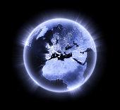 Blue glowing Earth [Europe]