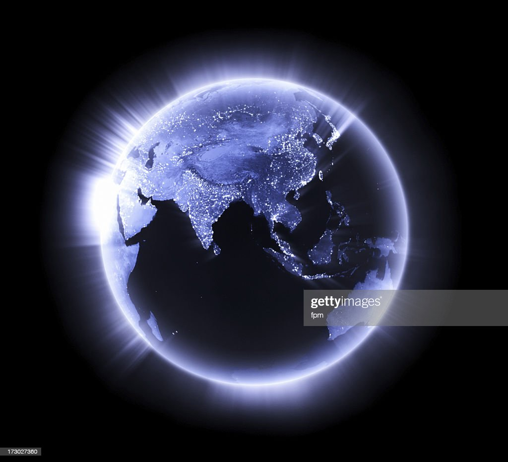 Blue glowing Earth [Lower Asia] : Stock Photo