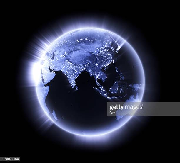 blue glowing earth [lower asia] - asia map stock pictures, royalty-free photos & images