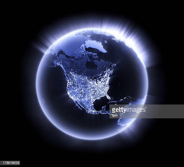 Blue glowing Earth [North America]
