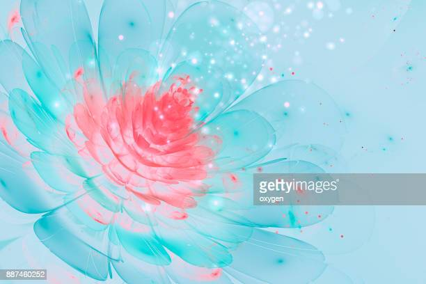 Blue glowing flower abstract background with particles