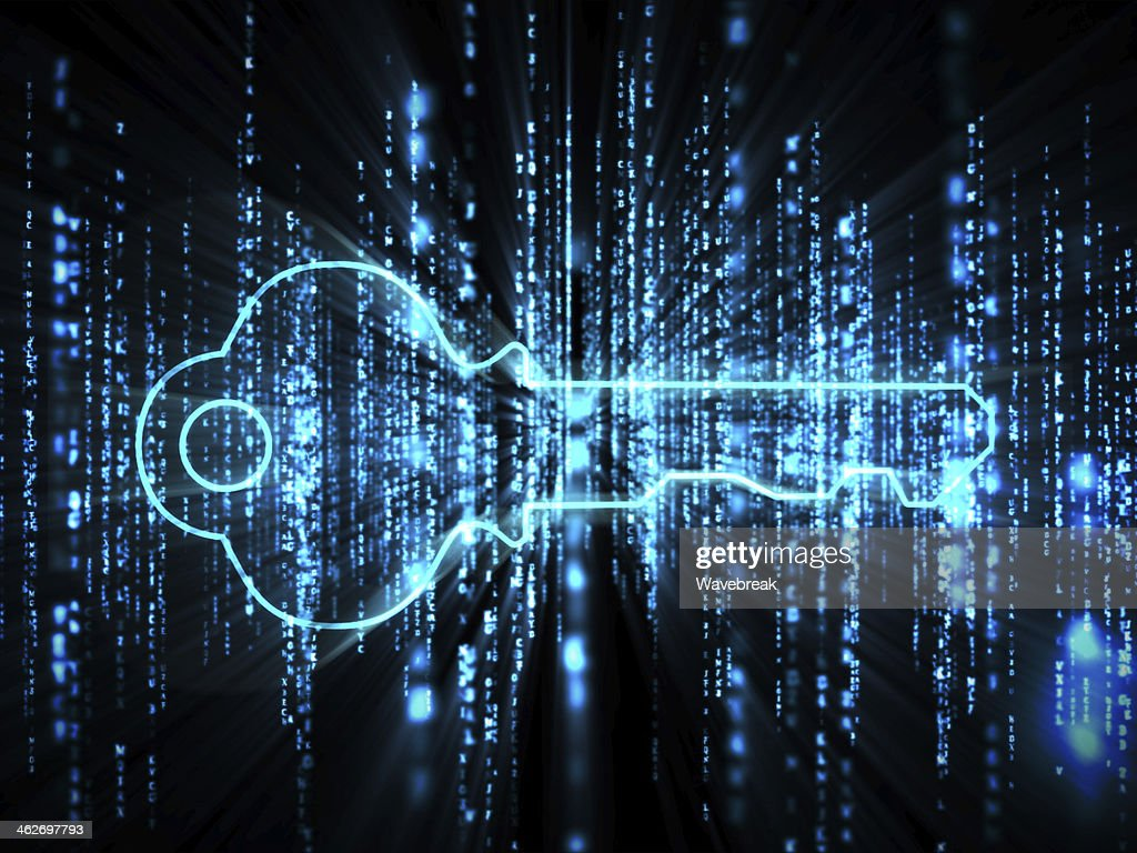 Blue glowing key on computer matrix : Stock Photo