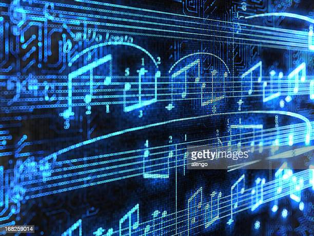 blue glowing music notes isolated on black background - musical note stock photos and pictures