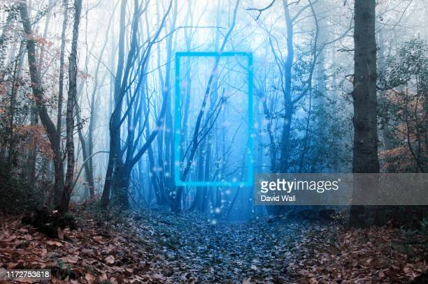 a blue glowing transparent door, with magical lights moving around, floating in a moody, atmospheric winters forest. - magic doors stock pictures, royalty-free photos & images