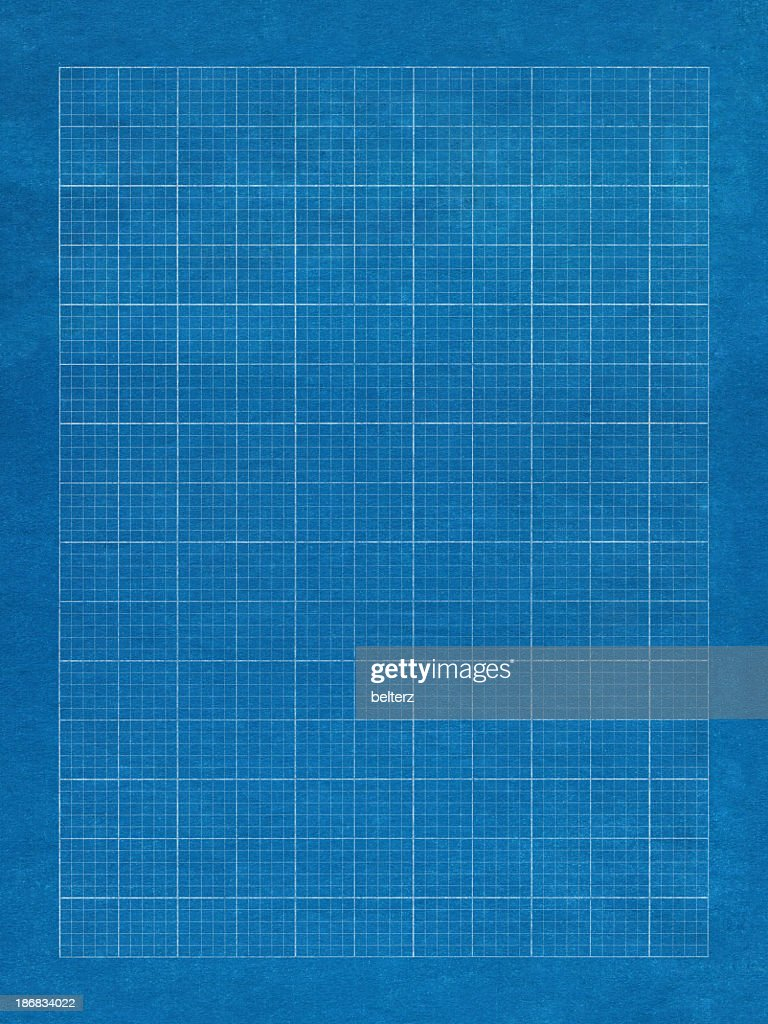 Blue grid paper with white lines : Stock Photo