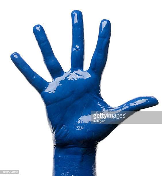 azul de mano - cuerpo pintado fotografías e imágenes de stock